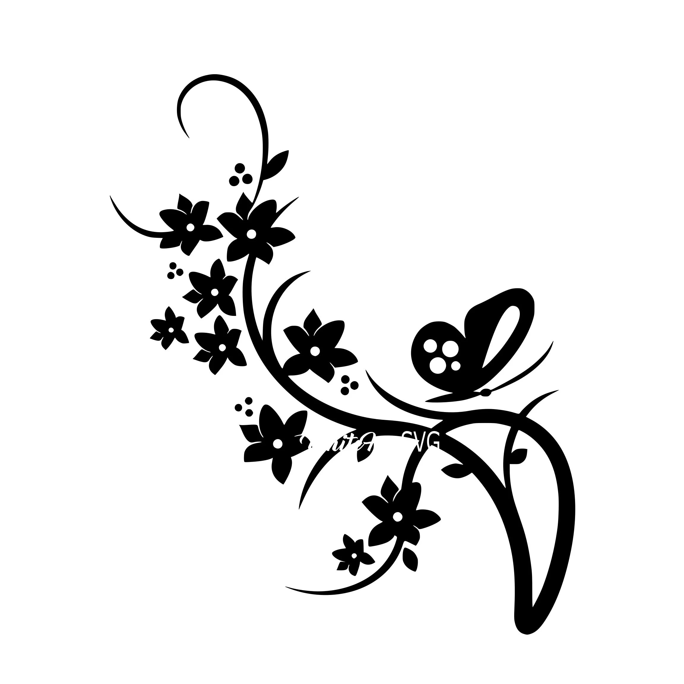 Beautiful Butterfly Flowers Svg Butterfly And Vines Flower
