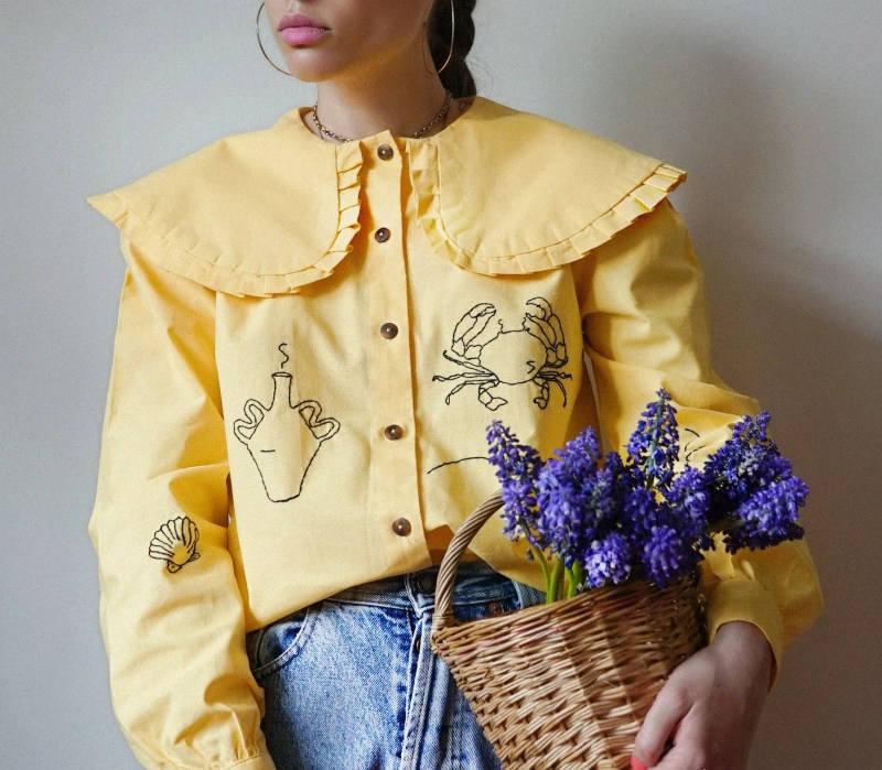 Hand Embroidered Oversized Collar Yellow Shirt image 0