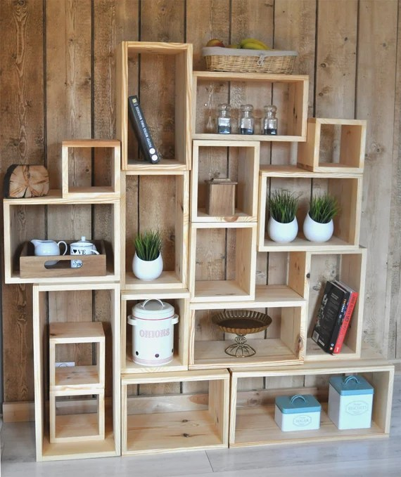 Wooden Wall Shelves Three Dimensional Wemadit Boxes Etsy