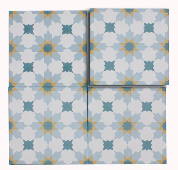 mto0555 modern 8x8 diamond floral white teal sky blue yellow etsy