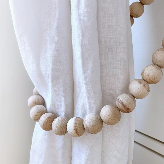 2 hygge curtain ties with farmhouse beads whitewashed wooden bead garland set light curtain tie backs for neutral nursery curtain holders