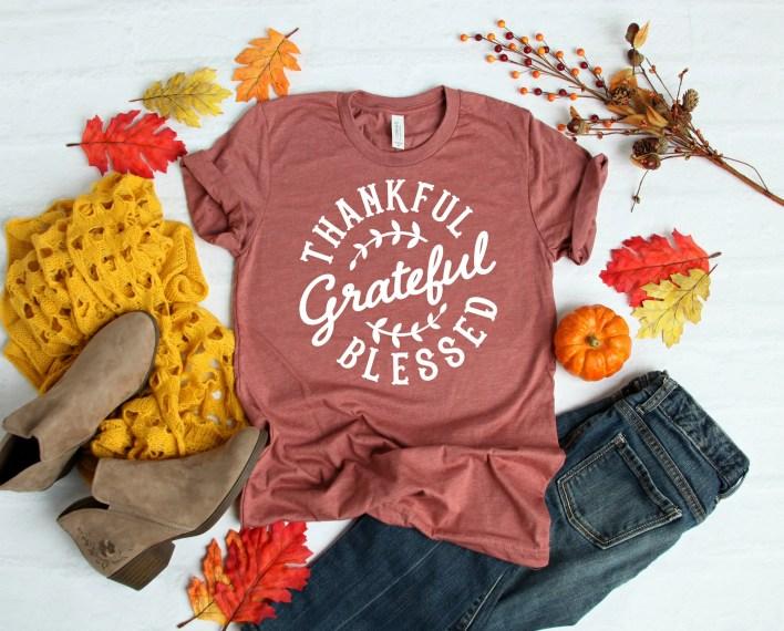 Thankful Grateful and Blessed Shirt -  Thanksgiving Shirt - Thankful Graphic Tshirt - Women's Fall Shirt - Pumpkin Tee - Blessed Tee