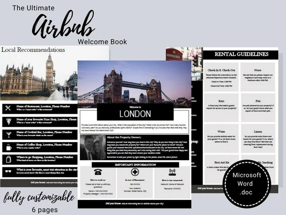 Welcome Book London England Guest Book Airbnb Vacation Rental Printable Template Rental Guidebook Vrbo