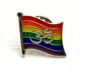 LGBTQ Pride Om — Hindu Buddhist and Jain Rainbow Pin Badge for Lapels, Shirts, Backpacks, and more!
