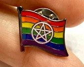 "The ""Willow"" LGBTQ Pentacle (not Pentagram) — Pagan Pride Pin Badge for Lapels, Shirts, Backpacks, and more!"