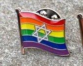 "LGBTQ Progress Pride Star of David Jewish + Israel (""Chicago + DC Marching Dykes"") Rainbow Pin Badge for Lapels, Shirts, Backpacks,"