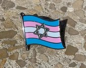 "The ""Yentl"" Transgender Pride & Star of David Jewish + Israel Pin Badge for Lapels, Shirts, Backpacks, Hats, etc..."
