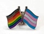 "Philadelphia ""Philly"" LGBTQ + TRANSGENDER Intersectional Progress Pride Rainbow DOUBLE Flag Pin Badge"