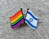 LGBTQ Rainbow Progressive Pride + State of ISRAEL star of David DOUBLE Flag Pin Badge for Lapels, Shirts, Backpacks, Hats, etc...