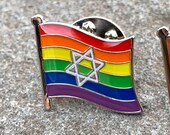 """A """"Chicago Marching Dykes"""" Rainbow Star of David Pin / Badge for Lapels, Shirts, Backpacks,"""
