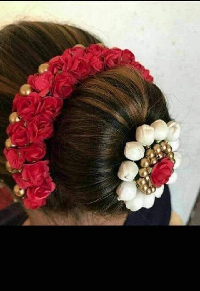new traditional white & red bridal hair bun artificial flower jewelry garland bollywood indian bridal strand gajra for women wedding wear