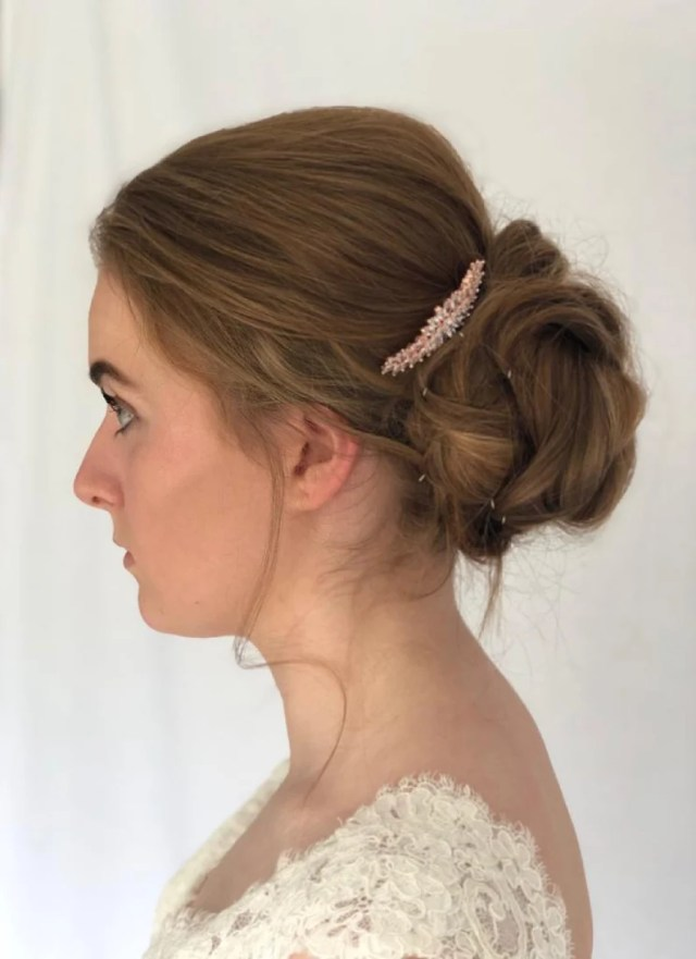 chloe rose gold bridal hair comb-vintage style hair comb-bridesmaids hair accessories-hair jewelry-rose gold hair comb-wedding head pieces
