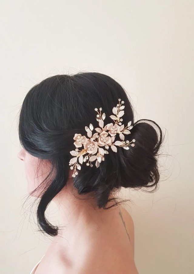annabelle rose gold bridal hair piece -blush hair comb-bridal hair comb-crystal hair clip-wedding-bridal hair accessories-vintage style-veil