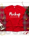 Bella Canvas 3001 Red Christmas Mockup Unisex T Shirt Mockup Etsy