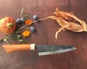 Hand crafted Honesuki chef's knife - apricot wood - Unique piece / Handmade Honesuki Kitchen Knife - Apricot Wood - Unique