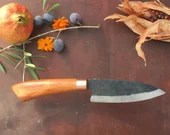 Hand crafted Tall Petty chef's knife - carob wood - Unique piece / Handmade Tall Petty Kitchen Knife - Carob wood - Unique
