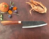 hand crafted Bunka chef's knife - orange wood - Unique piece / Handmade Bunka kitchen knife - orange wood - unique