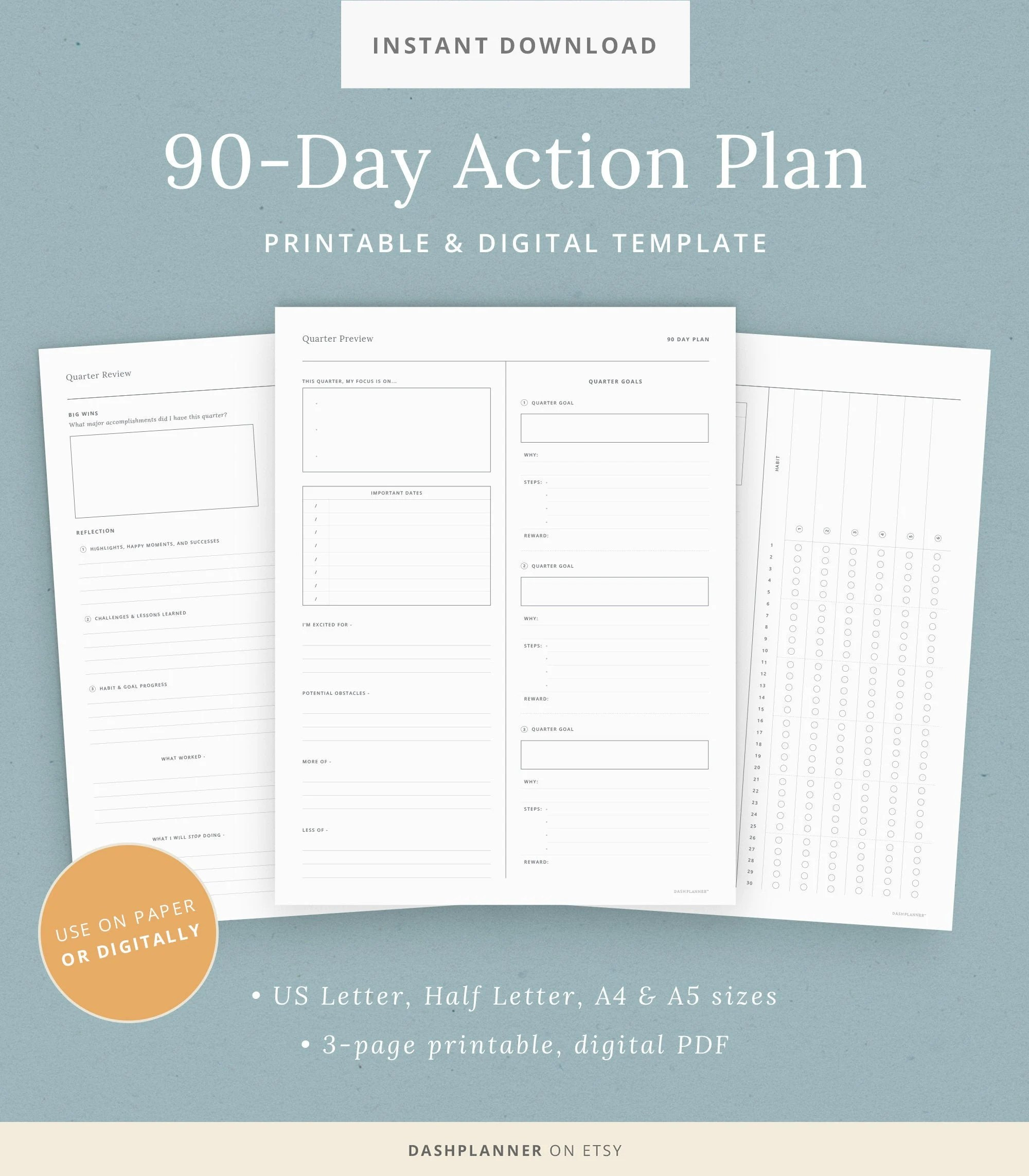 90 Day Plan Printable Quarterly Planning Organizer Habit