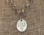 LIFE is a Gift Inspirational Charm Necklace | Tree of Life | Handmade | Silver | Custom Length | Double Sided | Strength |