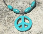 Sterling Silver Blue Peace Sign Howlite Necklace | Handmade | Natural | Beaded | Gift for Her | Birthday | Boho | Casual | Beach Jewelry
