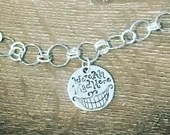 "Cheshire Cat Grin Charm Necklace | Handmade | Silver | Custom Length | Alice in wonderland | ""We're all mad here."""