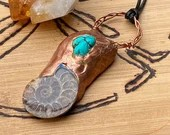 Ammonite Turquoise Copper Nugget Necklace | Handmade | Fossil | Polymer Clay Jewelry | Gifts for Him Her | Unisex | Black Leather Cord