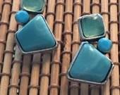 Blue Stone Cluster Earrings | Screw Back | Malachite & Chalcedony | Silver | Gifts for Her | Handmade | Women Girls | Boho Gypsy Hippie