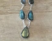 Sterling Silver Teardrop Labradorite Chain Necklace | Blue | Handmade | Iridescent | gifts for her | BoHo gypsy Hippie | Unique | Silv