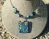 Beautiful Abalone Beaded Necklace | Handmade | Rectangle | Sea Shell | Gifts for Her | Boho Hippie Gypsy | Blue | Rainbow Shell | Layering