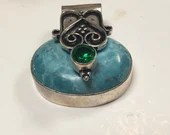 Turquoise & Peridot Pendant | Handmade | Gifts for Her | Boho Gypsy | Slide on Chain | Necklace | 925 silver
