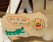 Hand Painted Kids Room Decor | It's a Zoo in Here! | Handmade Wood Wall Door Hanging | Gifts for Boys Girls | Alligator | Lion | Funny