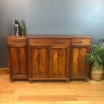 Vintage Antique Sideboard Buffet Server Flame Mahogany Cabinet Cupboard