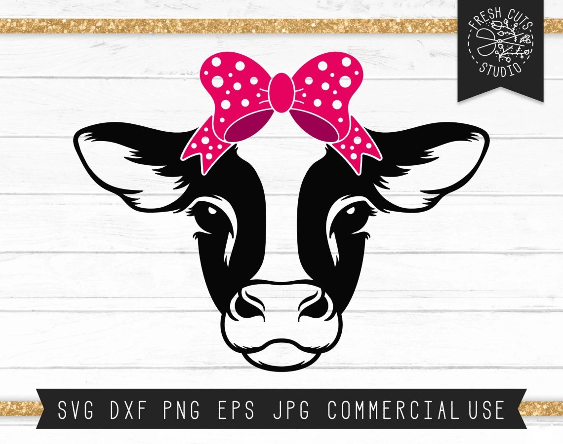 Download Cow Svg Cut File Cute Cow Face Clipart Cow with Bow Svg | Etsy