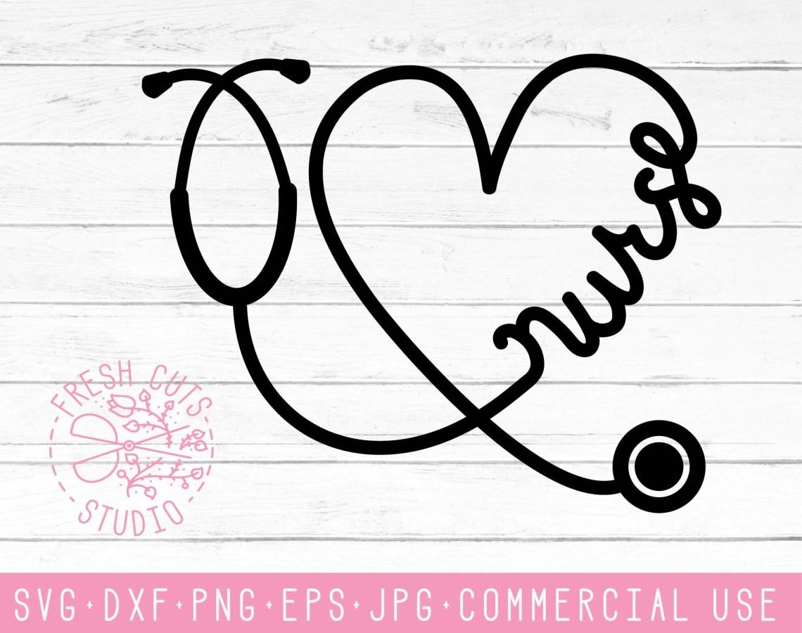 Download Nurse Stethoscope SVG Cute Nurse Cut Files Dxf Heart   Etsy