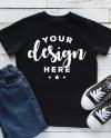 Kids Shirt Mockup Black T Shirt Mock Jeans And Shoes Listing Etsy