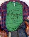 Heather Grass Green Bella Canvas 3001 Tshirt Mockup With Plaid Etsy