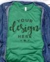 Bella Canvas 3001 Tshirt Mockup Heather Grass Green With Denim Etsy
