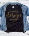 Black Tshirt Mockup With Denim Jacket On Distressed Wood Etsy