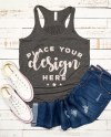 Bella Canvas Racerback Tank Mockup Ladies Flowy Tank With Etsy