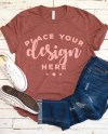 Bella Canvas 3001 Tshirt Mockup Heather Clay With Jeans And Etsy