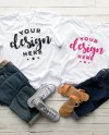 Bella Canvas 3001 Mockup Flat Lay His And Hers Husband Wife Etsy