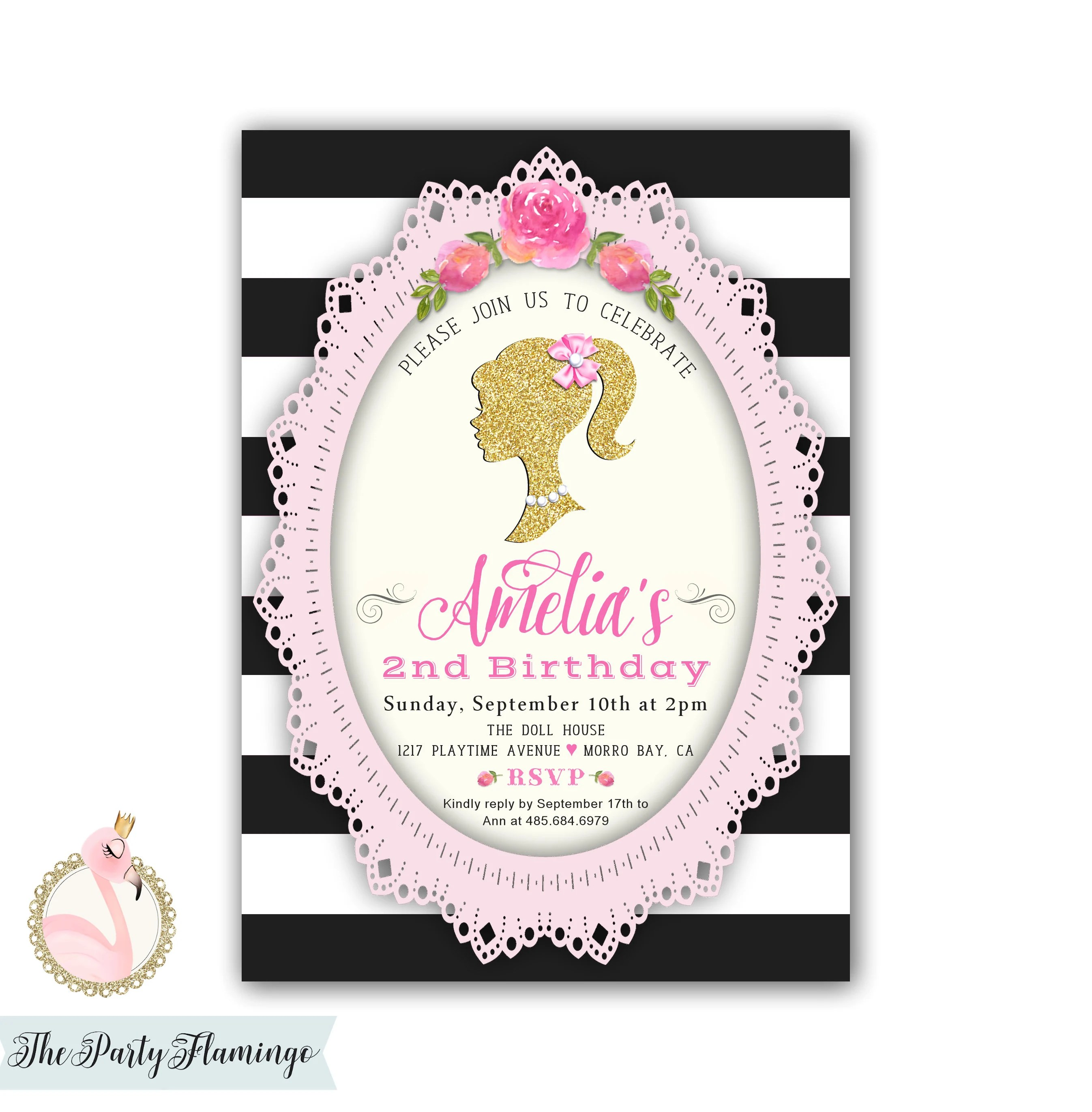 barbie invitation barbie inspired birthday party invitations vintage barbie doll silhouette pink black gold printable or printed cards