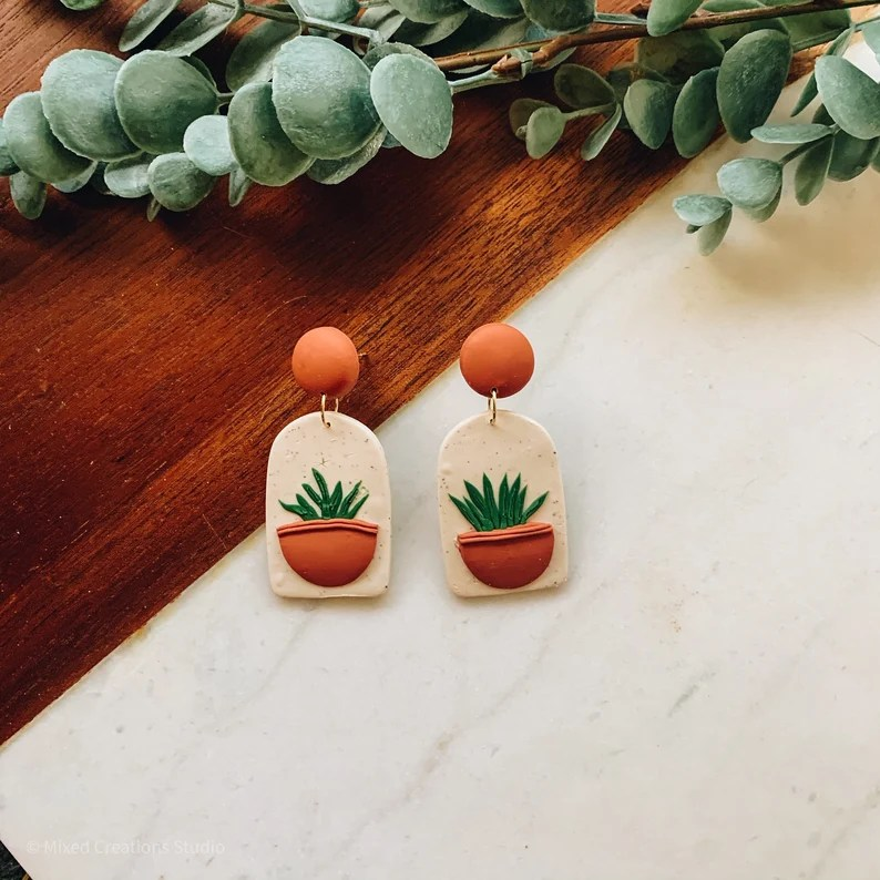 """Handmade Earrings""  ""Etsy""  ""plant earrings"" ""plant lover earrings"""
