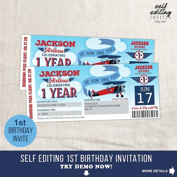 time flies first birthday invitation