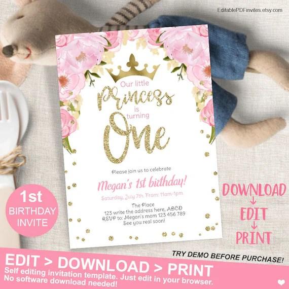princess birthday invitation princess invitation first birthday invitation editable princess invite pink gold 1st birthday invitation