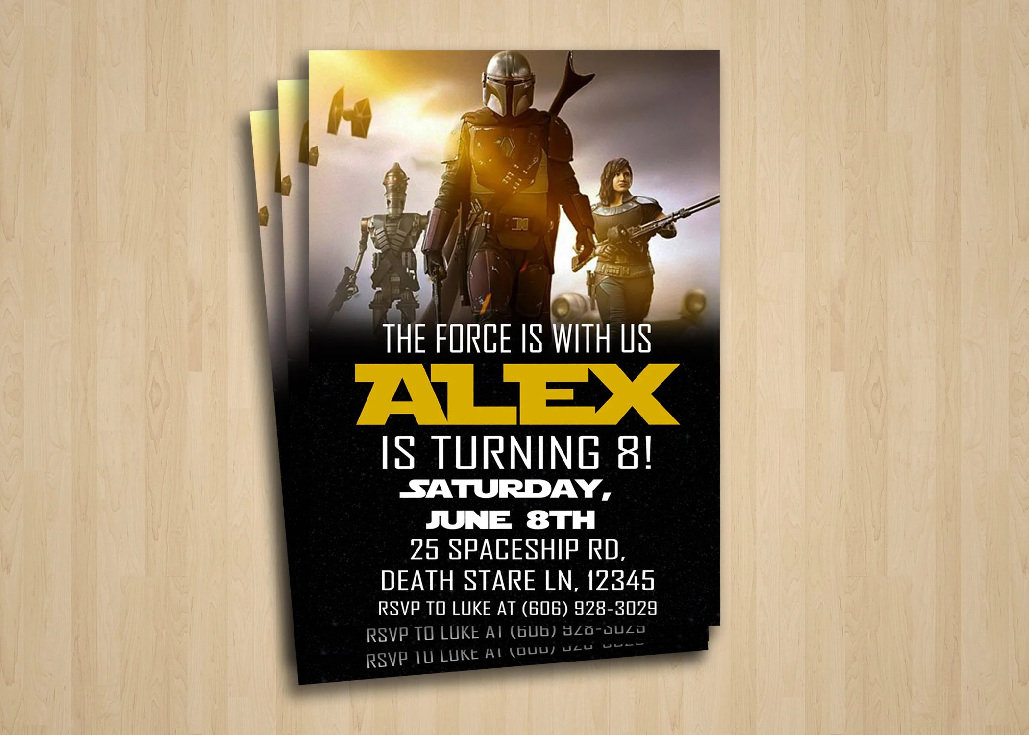 the mandalorian birthday party invitation digital invitation baby yoda downloadable star wars birthday printable download