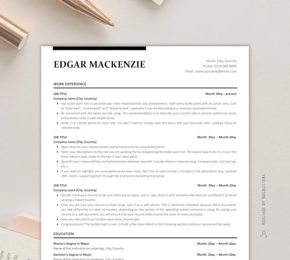Unfortunately, that means if a resume template is not written and formatted with the applicant tracking system in mind, a qualified candidate can be easily. Executive Resume Ats Friendly Resume Instant Download Etsy