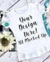 Arb Blanks Girls White Ruffle T Shirt Mock Up Mockup Image Etsy