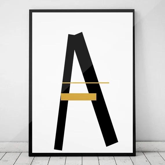 Letter A,Black & Gold Print,Monogram A,Gold Printable Art