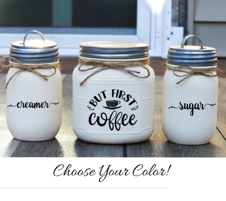 Coffee Bar Decor Cream and Sugar Set Kitchen Canister Set image 0